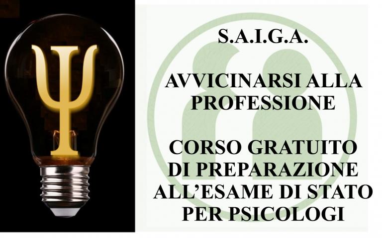 AVVICINARSI ALLA PROFESSIONE - CORSO GRATUITO DI PREPARAZIONE ALL'ESAME DI STATO PER PSICOLOGI -     4-28 OTTOBRE 2021